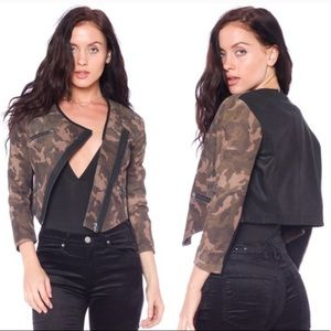 Cut25 cropped lamb leather Army jacket